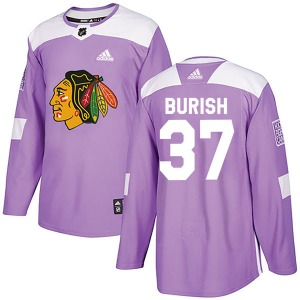 Adam Burish Chicago Blackhawks Adidas Youth Authentic Fights Cancer Practice Jersey (Purple)