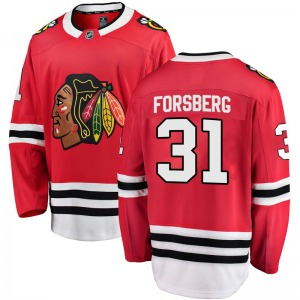 Anton Forsberg Chicago Blackhawks Fanatics Branded Youth Breakaway Home Jersey (Red)